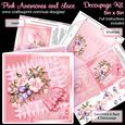 Pink Anemones and Lace 5in x 5in Decoupage Kit