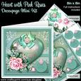 Heart with Pink Roses 8in x 8in Decoupage Mini Kit