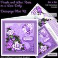 Purple and Lilac Roses on a Lace Doily 8 x 8 Decoupage Kit