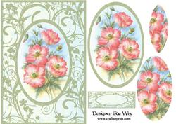 Wild Pink Poppies Card Front Pyramid