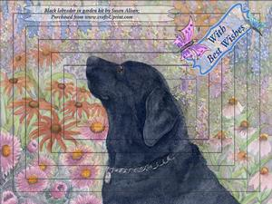 Black Labrador in Garden with Butterflies Pyramid Topper Kit