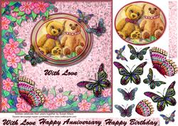 Celebrating Their Anniversary Square Decoupage Topper