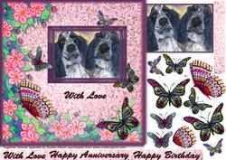 Together Forever Spaniels Topper Vwith Butterfly Decoupage
