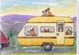 A4 They Were Off on Their Holidays - Dogs in a Caravan