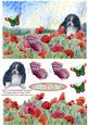 Puppy Watching Butterflies on Poppies Decoupage Topper