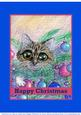 Christmas Tree Big Eye Tabby Cat Fairy Happy Christmas