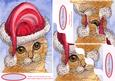 Ginger Cat in Her Holiday Hat Wavy Corner Stacker Topper