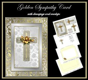 Golden Sympathy Card with Decoupage and Envelope