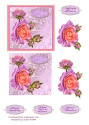 Pretty in Pink and Lilac,happy Birthday and Get Well Soon