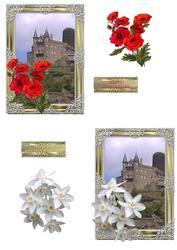 Framed Castle with Flowers Topper Ha