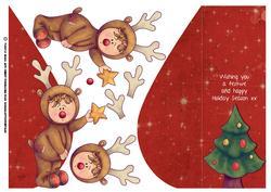 Cute Dress Up Reindeer Child Christmas Card