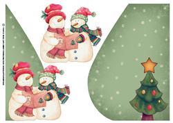 Christmas Snowman Teardrop Card