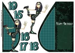 Gothic Rag Doll Rocker Birthday Teardrop Card
