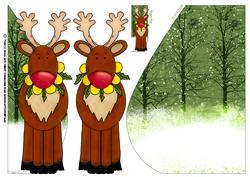 Cute Reindeer Teardrop Card