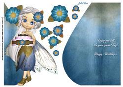 Pretty Little Fairy Teardrop Card in Blue