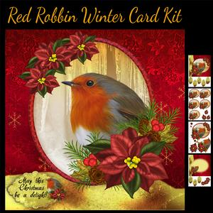 Winter Robin and Poinsettia Card Kit