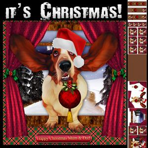 Basset Hound It's Christmas Card Kit