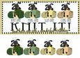 Sheep Knitting Long Birthday Card Front