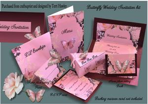 Pink Butterfly Wedding Invitation Kit
