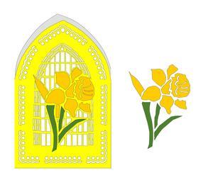 Daffodil Church Window Card