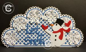 Frozen Snowflake Christmas Card Let It Snow with Snowman