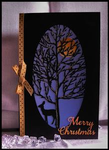 Christmas - Forest Tree and Deer Oval Card