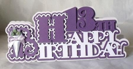 Scalloped Happy 13th Birthday Card - SVG