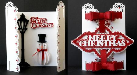 3D Snowman & Lamp Card - SVG