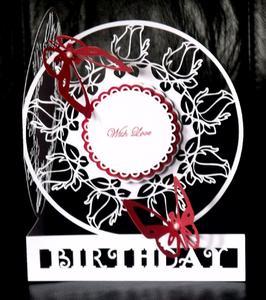 Birthday Rose Round Card - SVG