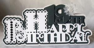 Scalloped Happy 19th Birthday Card - SVG