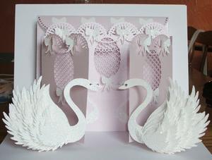 Wedding Swan Fronted Door Card Cricut