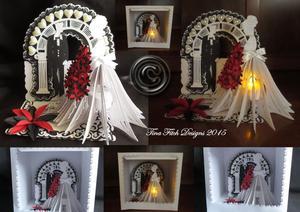 3D Tea Light Bride Wedding Easel & Box SVG