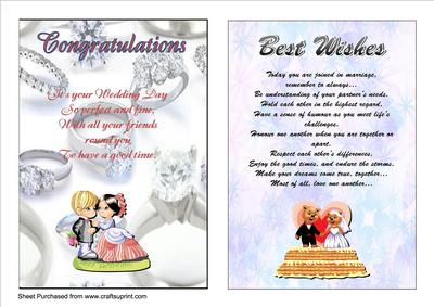 Two A5 Wedding Cards With Verses