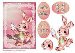 Pink Bunny with Egg A5 Card