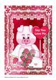 Valentine Flower Pig A4 Card
