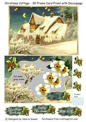 Christmas Cottage - 3D Frame Card Front with Decoupage