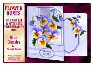 Flower Boxes 3D Card Kit - Blue Pansies
