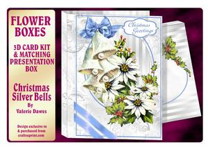 Flower Boxes 3D Card Kit - Christmas Silver Bells
