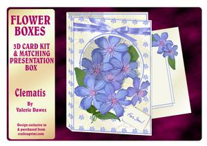 Flower Boxes 3D Card Kit - Clematis