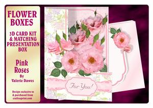 Flower Boxes 3D Card Kit - Pink Roses