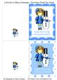Little Girl in Blue & Snowman - Christmas Thank You Cards