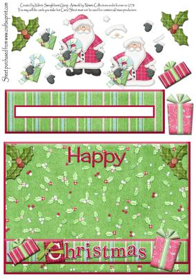 Happy Christmas Santa Penny Slider Card Front