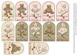12 Teddy Bear Crescent Gift Tags Various Occasions
