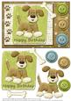 Happy Birthday Doggie with Buttons Card Front