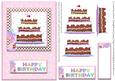 Happy Birthday Chocolate Cake Card Front Pink