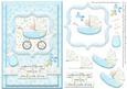 Welcome Little One Baby Boy Card Front with Decoupage