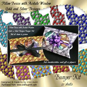 Gold and Silver Pattern Pillow Boxes