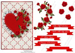 Ruffled Lace Heart and Roses