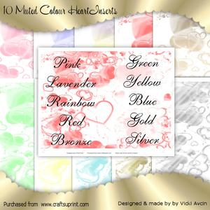 10 Muted Tone Hearts Inserts
