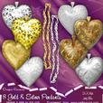 8 Gold & Silver Filagree Hearts